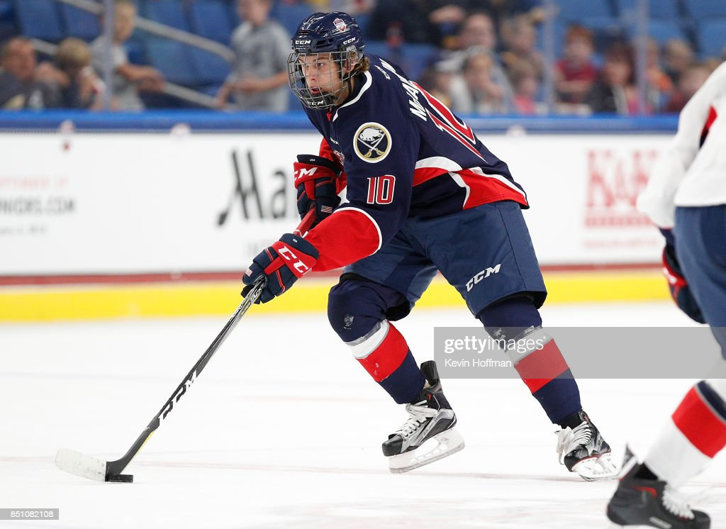 Blake McLaughlin #10 of Team Leetch skates with the puck in the second period against Team Chelios during the CCM/USA Hockey All-American Prospects Game at the KeyBank Center on September 21, 2017 in Buffalo, New York.