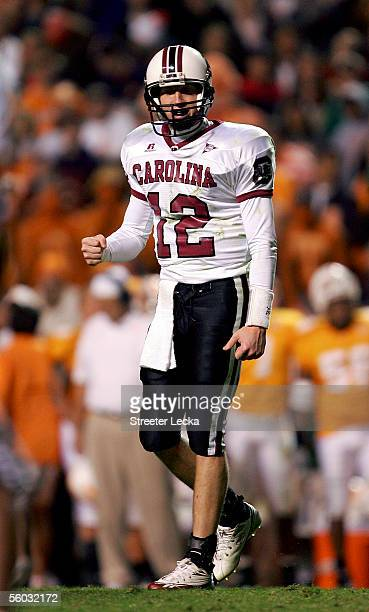 Blake Mitchell of the South Carolina Gamecocks celebrates after a 1615 victory over the Tennessee Volunteers during their game on October 29 2005 at...
