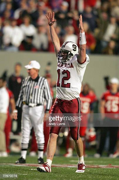 Blake Mitchell of the South Carolina Gamecocks celebrates against the Houston Cougars during the AutoZone Liberty Bowl at the Liberty Bowl Memorial...
