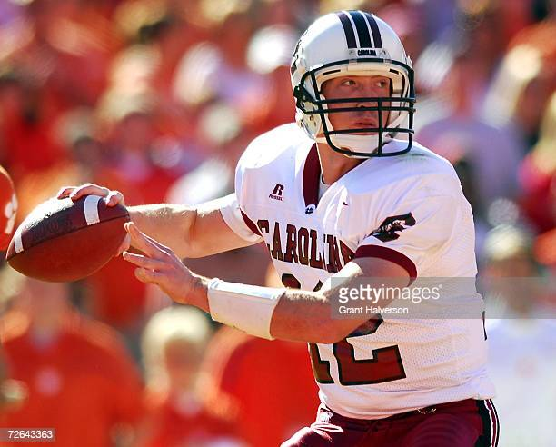 Blake Mitchell of the South Carolina Gamecocks drops back to pass against the Clemson Tigers on November 25 2006 at Memorial Stadium in Clemson South...