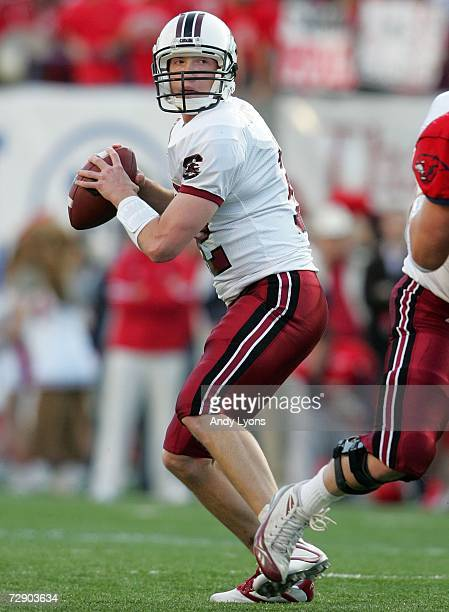 Blake Mitchell of the South Carolina Gamecocks looks to throw a pass against the Houston Cougars during the AutoZone Liberty Bowl at the Liberty Bowl...