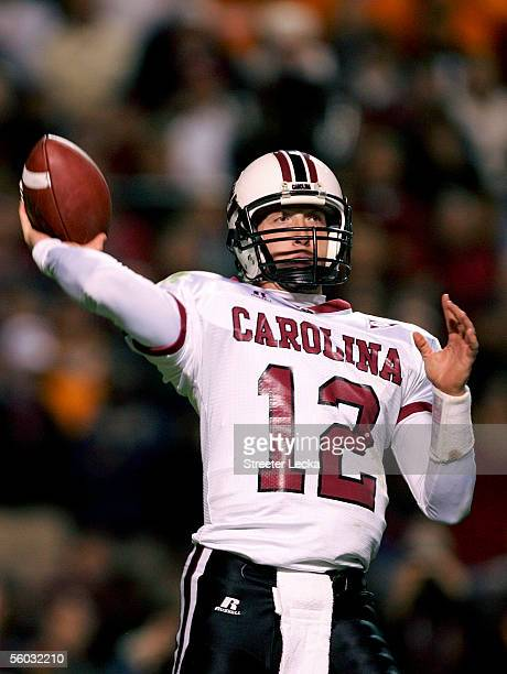 Blake Mitchell of the South Carolina Gamecocks throws a pass against the Tennessee Volunteers during their game on October 29 2005 at Neyland Stadium...