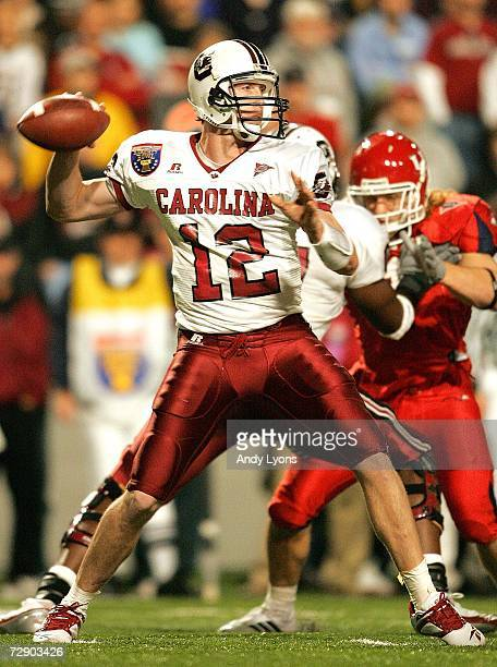 Blake Mitchell of the South Carolina Gamecocks throws a pass against the Houston Cougars during the AutoZone Liberty Bowl at the Liberty Bowl...