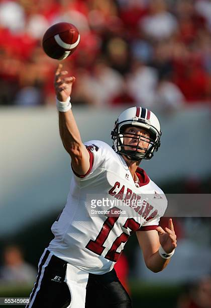 Blake Mitchell of the South Carolina Gamecocks throws a pass during their game against the Georgia Bulldogs at Sanford Stadium on September 10 2005...