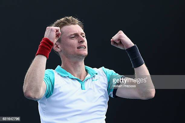 Blake Mott of Australia celebrates a win in his 2017 Australian Open Qualifying match against James McGee of Ireland at Melbourne Park on January 14...