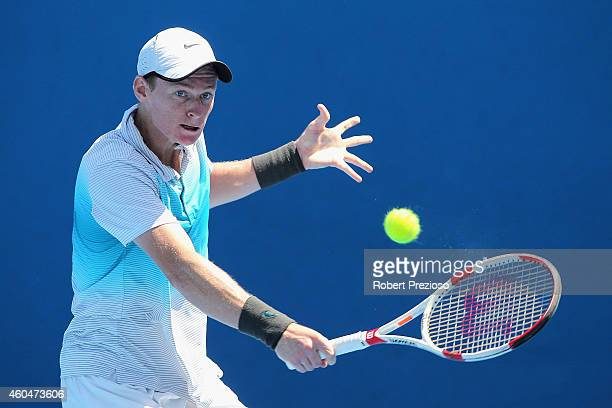 Blake Mott of Australia plays a backhand in his first round match against Maverick Barnes of Australia during the 2015 Australian Open play off at...