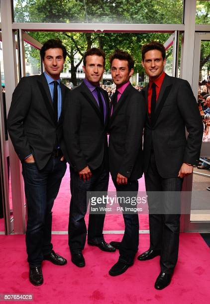 Blake Oliver Baines Dominic Tighe Jules Knight and Stephen Bowman arriving for the UK Premiere of Killers at the Odeon West End Leicester Square...