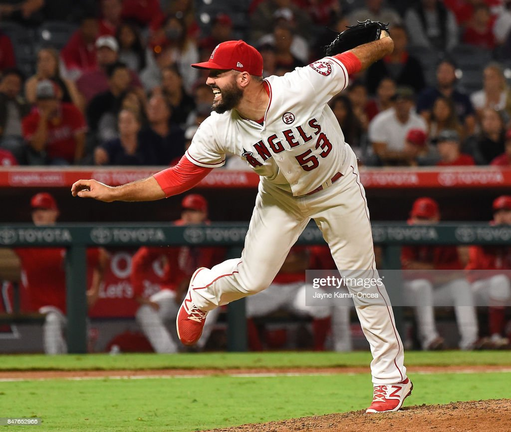 Blake Parker #53 of the Los Angeles Angels of Anaheim earns a save in the ninth inning of the game against the Texas Rangers at Angel Stadium of Anaheim on September 15, 2017 in Anaheim, California.