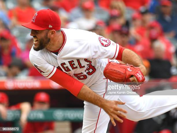 Blake Parker of the Los Angeles Angels of Anaheim earns a save in the ninth inning against the Tampa Bay Rays at Angel Stadium on May 20 2018 in...