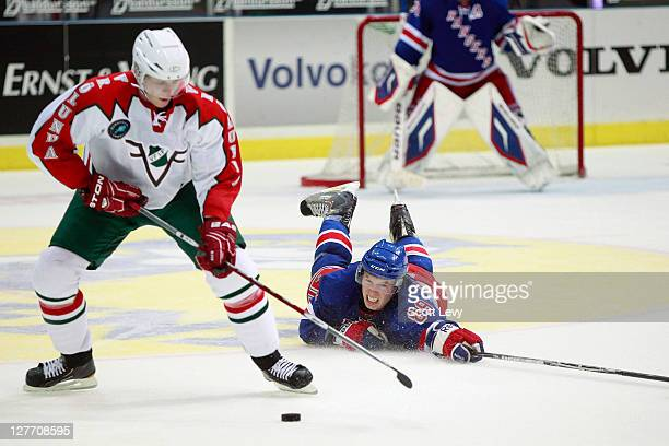 Blake Parlett of the New York Rangers defends against the Frolunda Indians at the Scandinavium during the 2011 NHL Compuware Premiere Challenge on...
