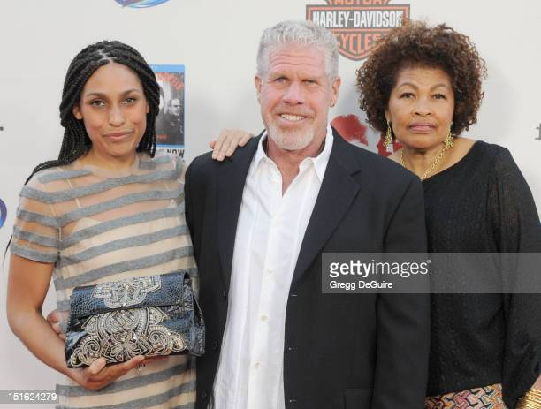 Blake Perlman Ron Perlman and Opal Stone arrive at the Sons of Anarchy season 5 premiere screening at Westwood Village on September 8 2012 in Los...