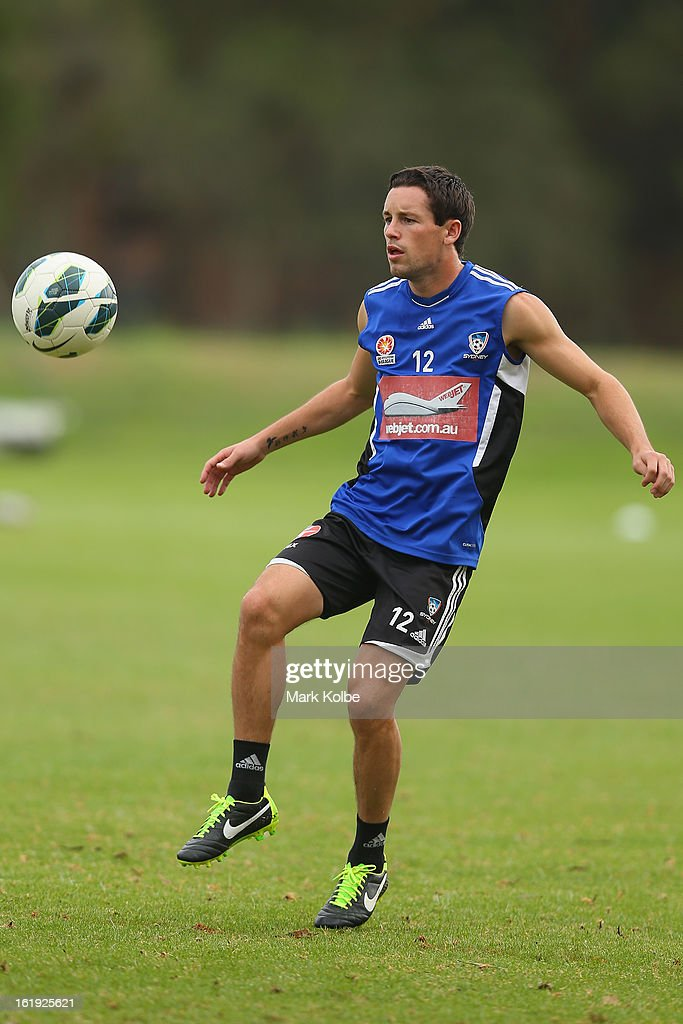 Blake Powell kicks during a Sydney FC A-League training session at Macquarie Uni on February 18, 2013 in Sydney, Australia.