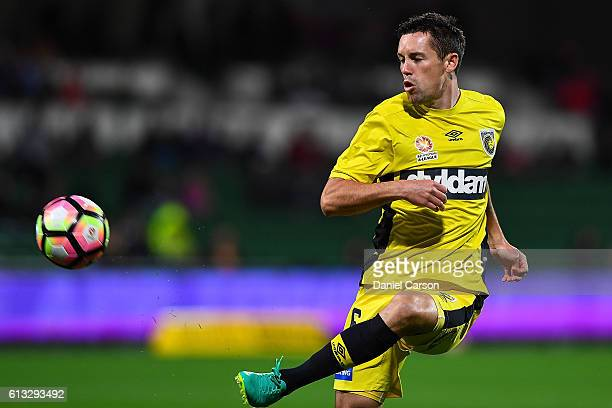 Blake Powell of the Central Coast Mariners kicks the ball from a volley during the round one ALeague match between the Perth Glory and the Central...