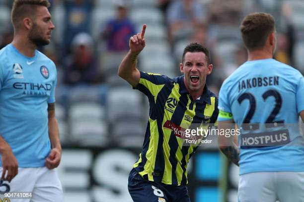 Blake Powell of the Mariners celebrates a goal during the round 16 ALeague match between the Central Coast Mariners and Melbourne City at Central...