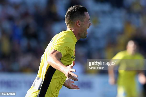 Blake Powell of the Mariners celebrates a goal during the round nine A-League match between Central Coast Mariners and the Western Sydney Wanderers...