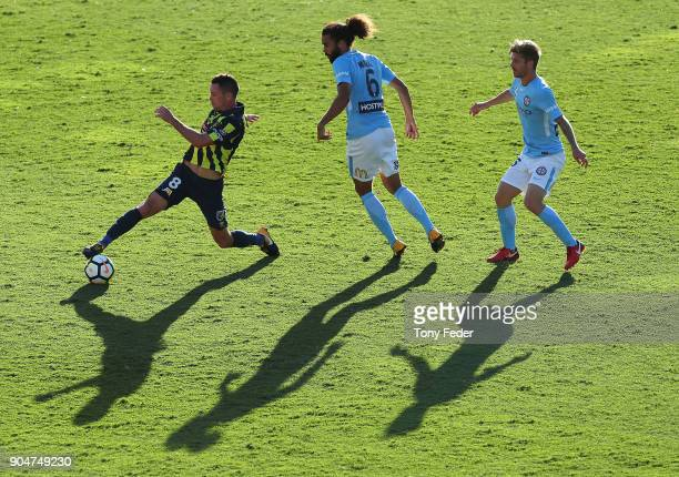 Blake Powell of the Mariners in action during the round 16 ALeague match between the Central Coast Mariners and Melbourne City at Central Coast...