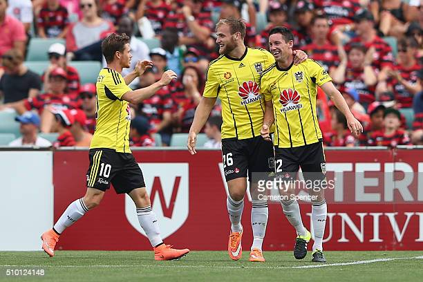 Blake Powell of the Phoenix celebrates scoring a goal during the round 19 ALeague match between the Western Sydney Wanderers and the Wellington...