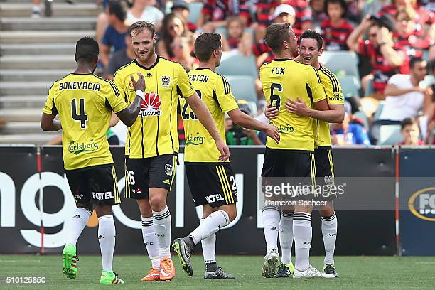 Blake Powell of the Phoenix celebrates scoring a second goal during the round 19 ALeague match between the Western Sydney Wanderers and the...