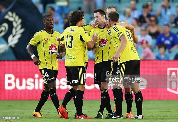 Blake Powell of Wellington Phoenix celebrates with team mates after scoring a goal during the round 23 ALeague match between Sydney FC and the...
