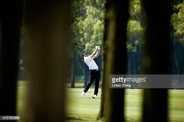 Blake Proverbs of Australia plays a shot during the day one of the Volvo China Open at Tomson Shanghai Pudong Golf Club on April 23, 2015 in...
