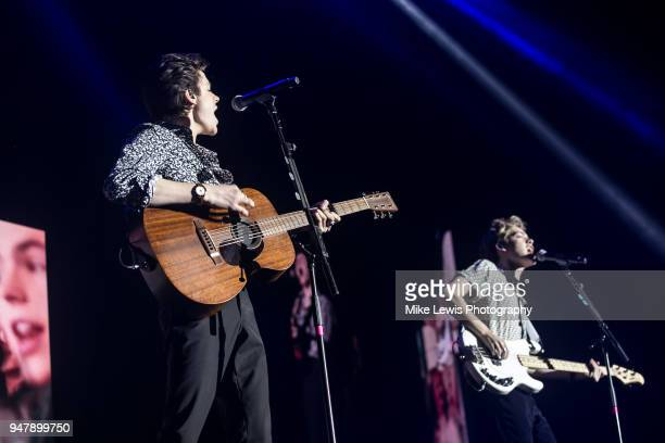 Blake Richardson and Reece Bibby of New Hope Club perform on stage at Motorpoint Arena on April 17 2018 in Cardiff Wales