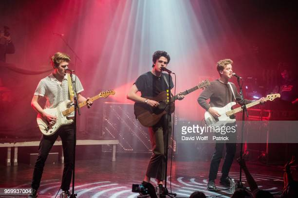 Blake Richardson George Smith and Reece Bibby from New Hope Club open for The Vamps at La Cigale on May 18 2018 in Paris France