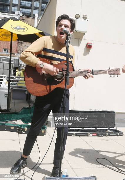 Blake Richardson of the band New Hope Club performs at a fan concert and meet greet at Buffalo Wild Wings Times Square on August 28 2017 in New York...