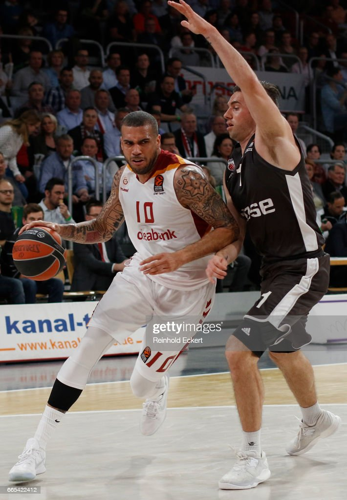 Blake Schilb, #10 of Galatasaray Odeabank Istanbul competes with Fabien Causeur, #1 of Brose Bamberg in action during the 2016/2017 Turkish Airlines EuroLeague Regular Season Round 30 game between Brose Bamberg v Galatasaray Odeabank Istanbul at Brose Arena on April 6, 2017 in Bamberg, Germany.