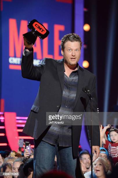 Blake Shelton accepts the 'Male Video of the Year' award during the 2014 CMT Music awards at the Bridgestone Arena on June 4 2014 in Nashville...