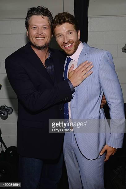 Blake Shelton and Brett Eldredge attend the 2014 CMT Music awards at the Bridgestone Arena on June 4 2014 in Nashville Tennessee