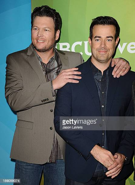 Blake Shelton and Carson Daly attend the 2013 NBC TCA Winter Press Tour at The Langham Huntington Hotel and Spa on January 6 2013 in Pasadena...