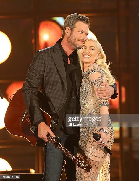 Blake Shelton and Gwen Stefani are seen on stage during the 2016 Billboard Music Awards held at the TMobile Arena on May 22 2016 in Las Vegas Nevada