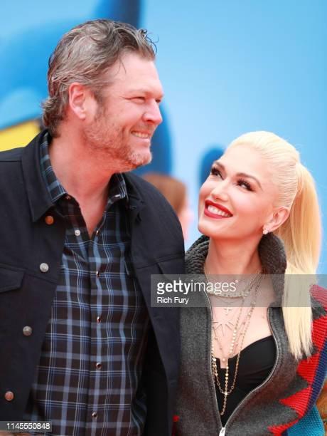 Blake Shelton and Gwen Stefani attend STX Films World Premiere of UglyDolls at Regal Cinemas LA Live on April 27 2019 in Los Angeles California