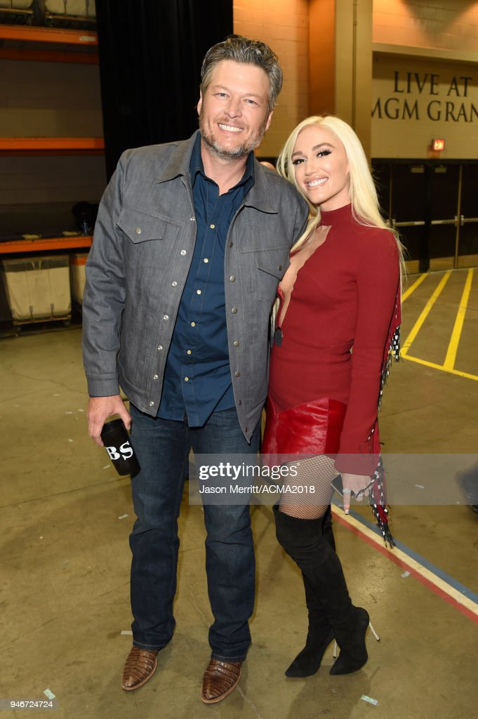 Blake Shelton (L) and Gwen Stefani attend the 53rd Academy of Country Music Awards at MGM Grand Garden Arena on April 15, 2018 in Las Vegas, Nevada.
