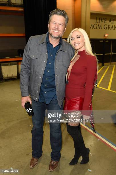 Blake Shelton and Gwen Stefani attend the 53rd Academy of Country Music Awards at MGM Grand Garden Arena on April 15 2018 in Las Vegas Nevada