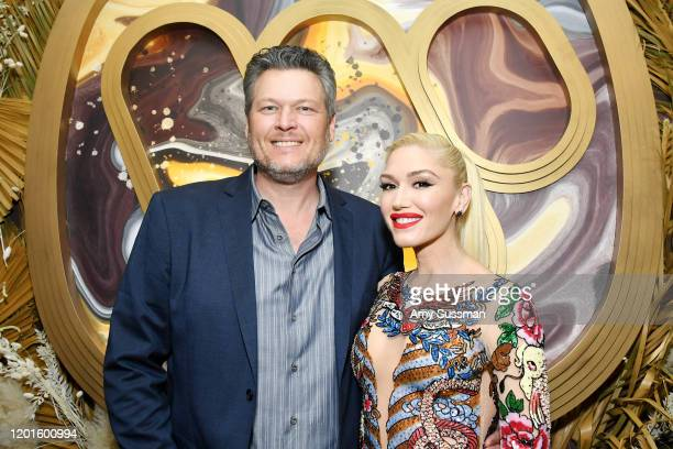 Blake Shelton and Gwen Stefani attend the Warner Music Group PreGrammy Party at Hollywood Athletic Club on January 23 2020 in Hollywood California