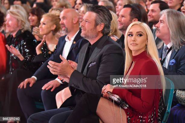 Blake Shelton and Gwen Stefani attends the 53rd Academy of Country Music Awards at MGM Grand Garden Arena on April 15 2018 in Las Vegas Nevada