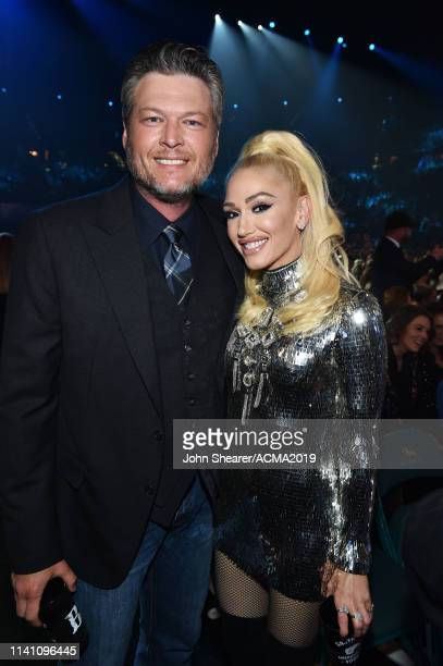 Blake Shelton and Gwen Stefani pose in the audience during the 54th Academy Of Country Music Awards at MGM Grand Garden Arena on April 07 2019 in Las...