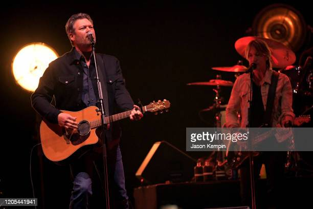 Blake Shelton and Keith Urban perform at All for the Hall: Under the Influence Benefiting the Country Music Hall of Fame and Museum at Bridgestone...