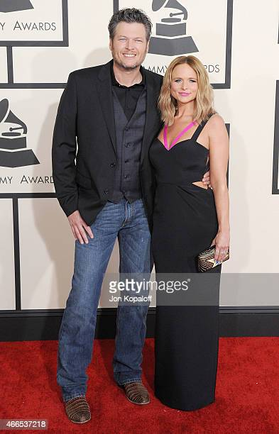 Blake Shelton and Miranda Lambert arrive at the 57th GRAMMY Awards at Staples Center on February 8 2015 in Los Angeles California