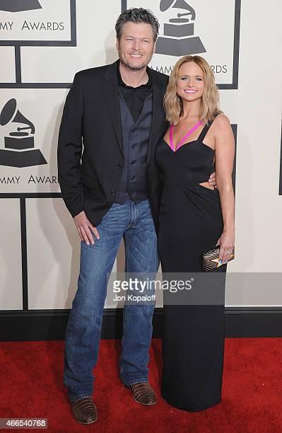 Blake Shelton and Miranda Lambert arrive at the 57th GRAMMY Awards at Staples Center on February 8 2015 in Los Angeles California