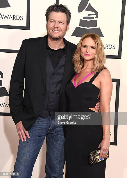 Blake Shelton and Miranda Lambert arrives at the The 57th Annual GRAMMY Awards on February 8 2015 in Los Angeles California