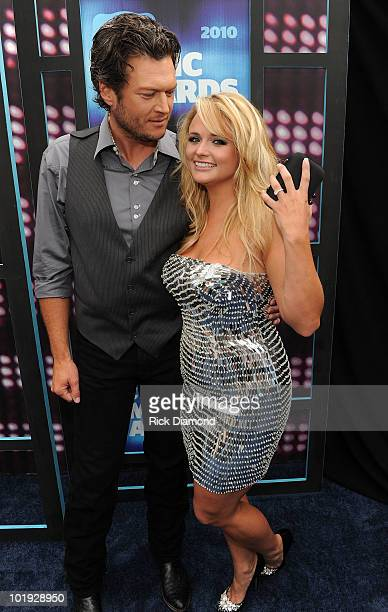 Blake Shelton and Miranda Lambert attend the 2010 CMT Music Awards at the Bridgestone Arena on June 9 2010 in Nashville Tennessee