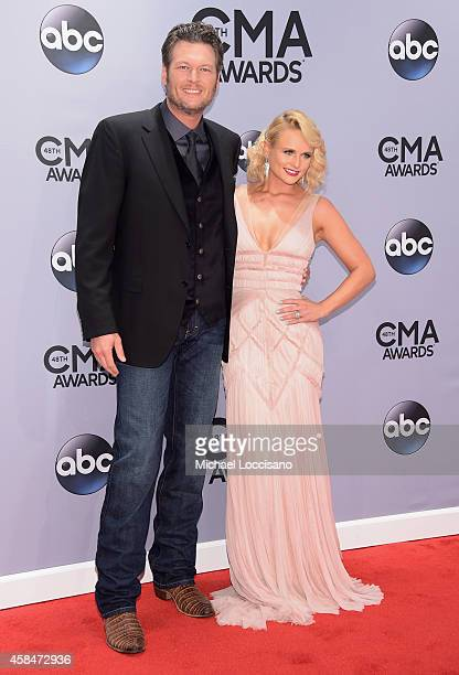 Blake Shelton and Miranda Lambert attend the 48th annual CMA Awards at the Bridgestone Arena on November 5 2014 in Nashville Tennessee