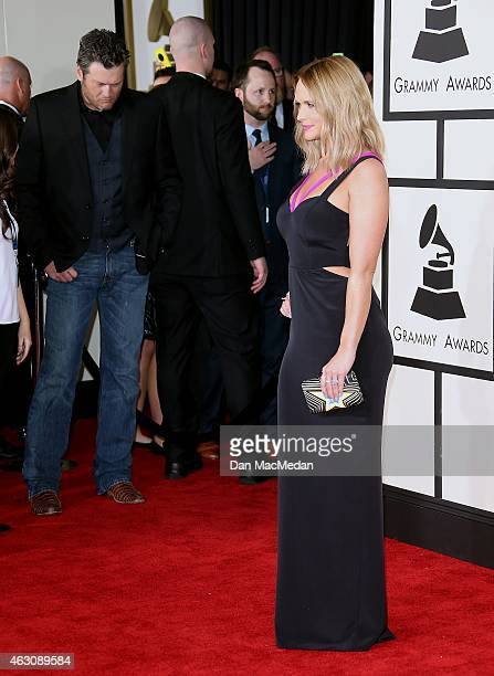 Blake Shelton and Miranda Lambert attend The 57th Annual GRAMMY Awards at the STAPLES Center on February 8 2015 in Los Angeles California