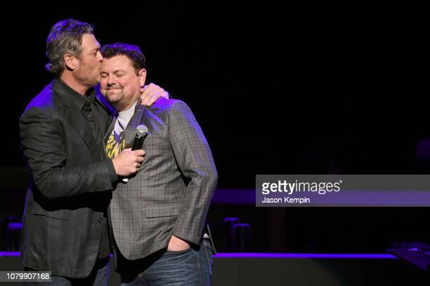 Blake Shelton and Storme Warren speak onstage during C'Ya on The Flipside benefit concert benefitting The Troy Gentry Foundation at The Grand Ole...