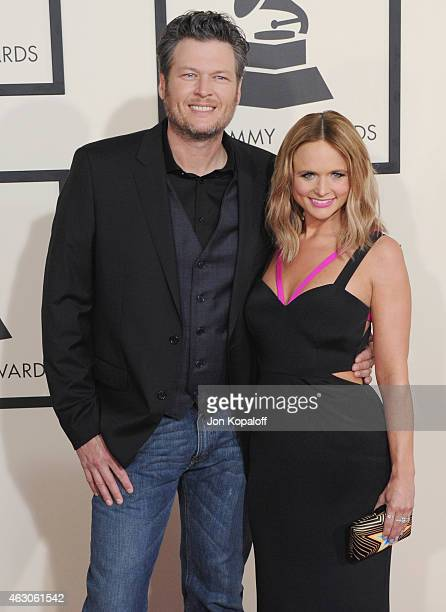 Blake Shelton and wife Miranda Lambert arrive at the 57th GRAMMY Awards at Staples Center on February 8 2015 in Los Angeles California