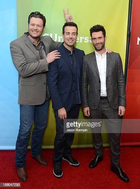 Blake Shelton Carson Daly and Adam Levine attend NBCUniversal's 2013 Winter TCA Tour Day 1 at Langham Hotel on January 6 2013 in Pasadena California