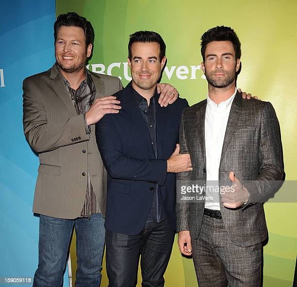 Blake Shelton Carson Daly and Adam Levine attend the 2013 NBC TCA Winter Press Tour at The Langham Huntington Hotel and Spa on January 6 2013 in...