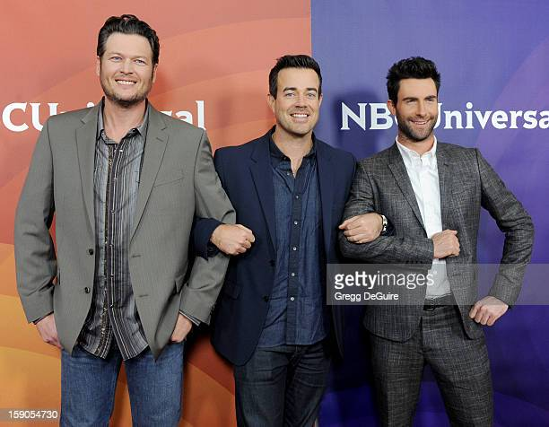 Blake Shelton Carson Daly and Adam Levine pose at the 2013 NBC Universal TCA Winter Press Tour Day 1 at The Langham Huntington Hotel and Spa on...